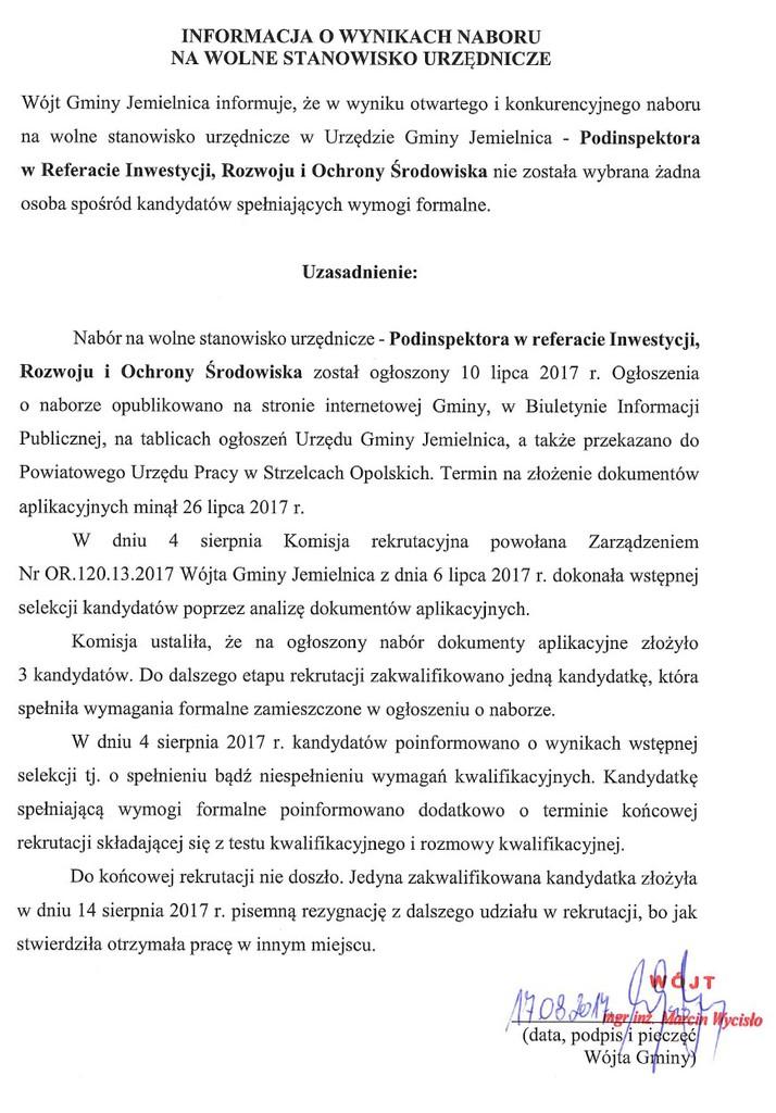Informacja o wynikach naboru na wolne stanowisko urzędnicze w Urzędzie Gminy Jemielnica.jpeg